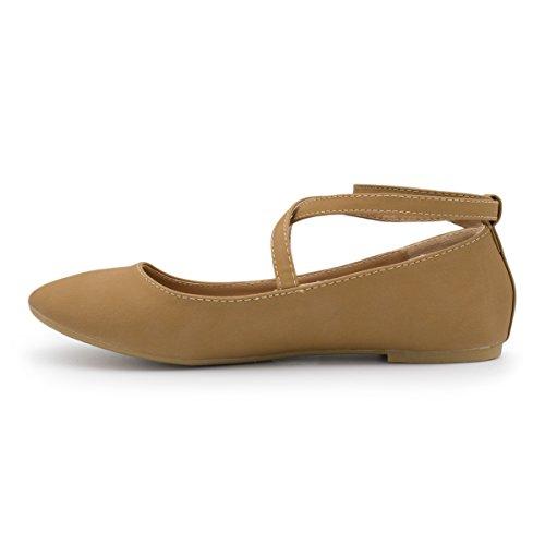 Top Moda Donna Brea-3 Strappy Balletto Piatto Tan Ts