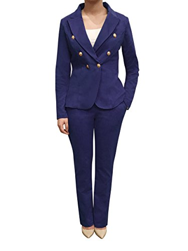 Womens Double Breasted Gold Button Front Blazer (Navy,Small) (Womens Navy Blue Blazer With Gold Buttons)