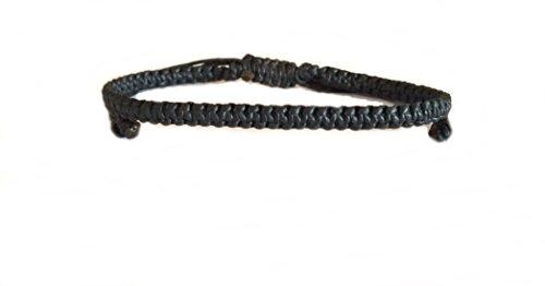 (Black Mens Wax Cotton Weave Thai Wristband Bracelet Handcrafted Wristwear)