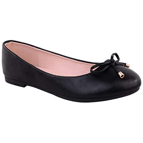 Womens Flat Black Pumps Ladies Girls Dolly Dollie Ballet Ballerina Work Smart Office Formal Comfort Bow Round Toe Slip…