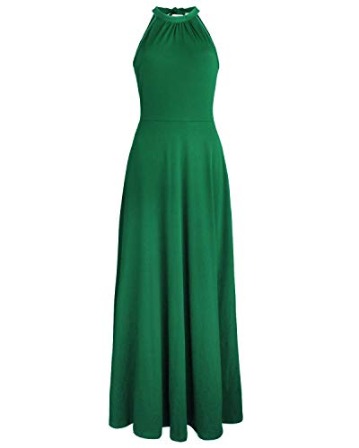 STYLEWORD Women's Off Shoulder Elegant Maxi Long Dress(Green,XL)