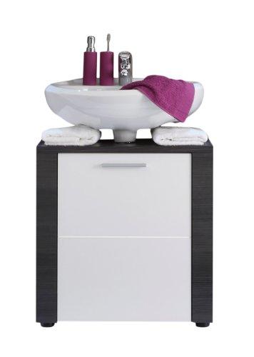 trendteam XP30110 Bad Waschbeckenunterschrank Korpus Esche grau Nachbildung und Front in weiß Nachbildung, BxHxT 60x62x35 cm