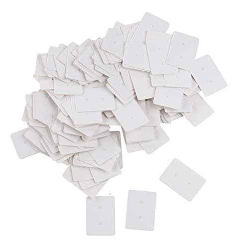 (Earring Cards - 500-Pack Earring Card Holder, Blank Earring Jewelry Display Cards for Ear Studs, Earrings, White, 1.375x 1 Inches)