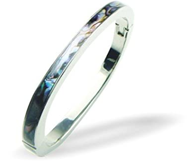 Exquisite Natural Abalone Paua Shell Bangle in Delicate Blue Green,60x50mm internal measurement.