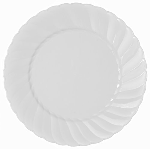 Collection Cake Plate (Party Joy 'I Can't Believe It's Plastic' 200-Piece Plastic Salad Plate Set | Flairs Collection | Heavy Duty Premium Plastic Plates for Wedding, Parties, Camping & More (White))