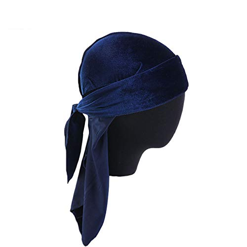 ZQY Unisex Deluxe Luxury Velvet Doo Rag Skull Cap Multifunctional Bandana Turban Hat Wigs Long Tail Headwraps Pirate Hat (Navy Blue)