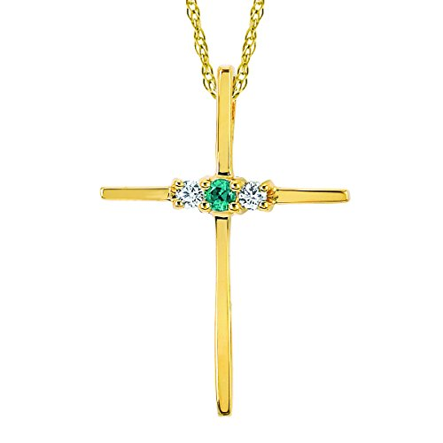 - 14K Yellow Gold Diamond and Created Emerald Three-Stone Cross Pendant Necklace with 18