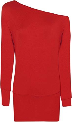Camiseta Mujer Negro larga de Rojo manga 21fashion RAw0dTqR