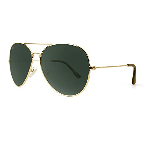 Knockaround Mile Highs XL Polarized Sunglasses, Gold Frames/ Green Aviator - Cheap Knockaround Sunglasses