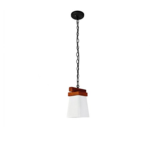 Modeen Retro Wooden Solid Wood Restaurant Dining Room Chandelier Lamp Japanese Southeast Asian Glass Lampshade Table lamp Ceiling Pendant Light for Living Room Hotel Kitchen Aisle ()