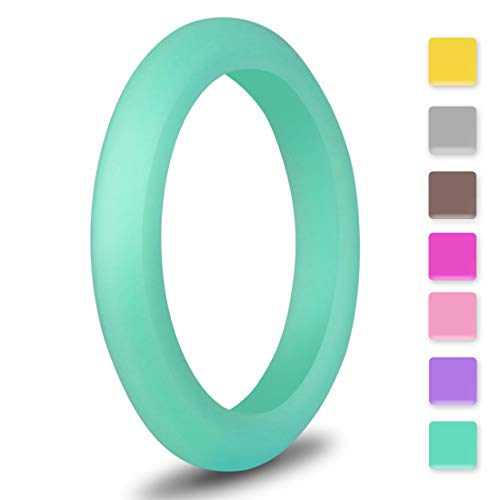 EMBNN Silicone Wedding Ring for Women Men, Thin, Affordable and Stackable Silicone Wedding Bands for Sports, Workout, Fitness, Exercise, Pink Green, 3.0mm Wide, Size: 7 (17.3mm)