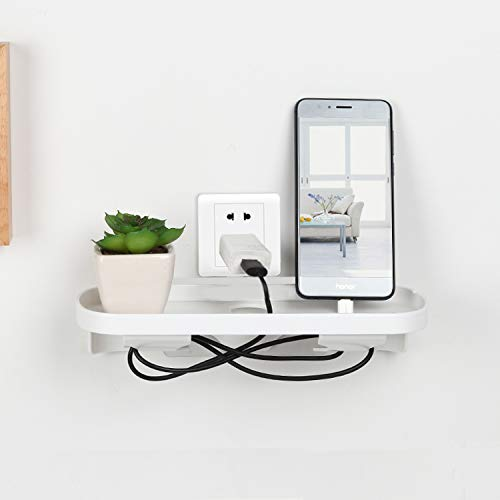Pawaca Bedside Charging Shelf Organizer Rack, Floating Nightstand Storage Shelf for Ipad Tablet Or Phone Stand Holder,Minimalist Bathroom Bedroom Switch Socket Wall Outlet Charging Shelf Plug Tray