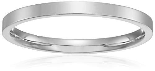 Decadence Unisex 14K White Gold 2mm Polished Flat Comfort Feel Plain Wedding Band, ()