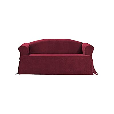 Sure Fit Soft Suede T-Cushion - Sofa Slipcover - Burgundy (SF34669)
