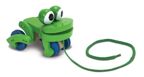 Frolicking Frog Pull Toy & Melissa & Doug Scratch Art Mini-Pad Bundle (Frolicking Frog Pull Toy)