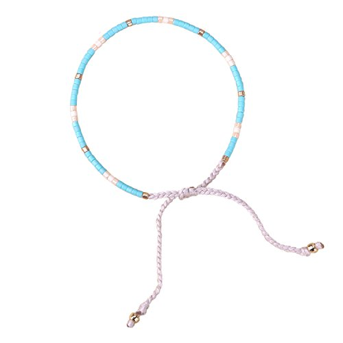 KELITCH Multicolor Crystal Shell Beaded Friendship Bracelets Hand Woven New Jewelry (Blue Gold)