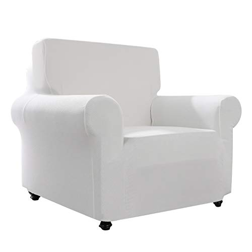 Hanhao Sofa Chair Covers for Living Room, Fitted Slip Cover for Couch, 1 Piece Durable Stretch Slipcover, Anti Slip Furniture Protector (Chair, Stone - Chair Slipcover With Arm White