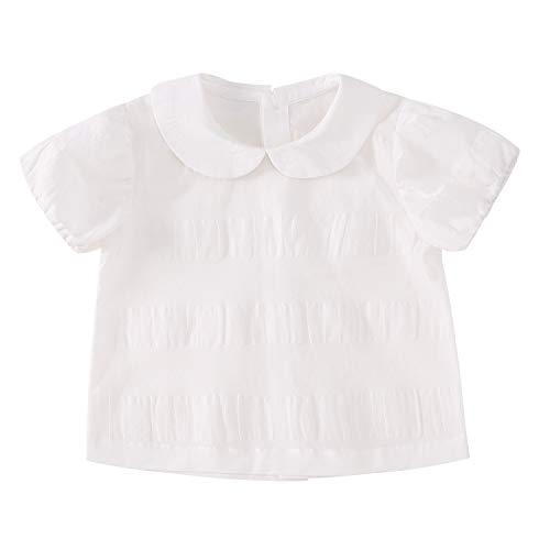 pureborn Baby Girl Jacquard Blouses Top T-Shirt Toddler Sweety Cotton Peter Pan Collar Shirt Short Sleeve White 6-12 Months ()
