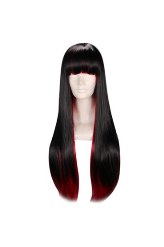 24 Straight Multi - Color Black & Red Flat Bang Lolita Cosplay Wig Ayamo by Tengs (Red Wig With Bangs)