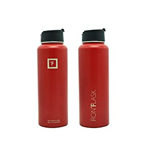 Iron Flask - 40 Oz, 3 Lids, Vacuum Insulated Stainless Steel Water Bottle, Hot & Cold, Wide Mouth, Nalgene, Double Walled, Simple Thermo Modern Travel Mug, Hydro Canteen Powder Coated