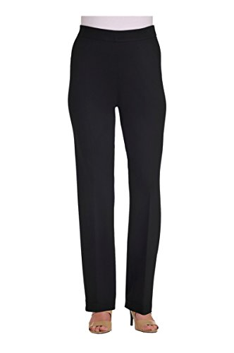 Petite Pull-On Straight Leg Pant Black (Pull On Knit Pants)