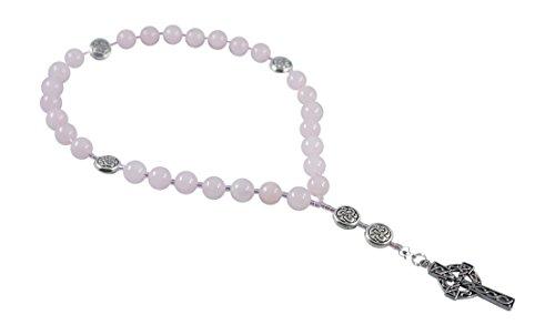 (Kit Johnson Designs, Anglican Rosary Beads Rose Quartz, Celtic Cross, Prayer Bag, Instruction)