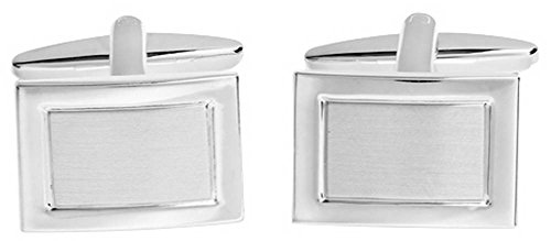 David Van Hagen Mens Shiny Brushed Rectangle Cufflinks - - Cufflinks Silver Brushed Rectangle