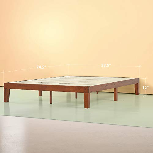 Zinus Wen 12 Inch Wood Platform Bed Frames / No Box Spring Needed / Wood Slat Support / Cherry Finish Full