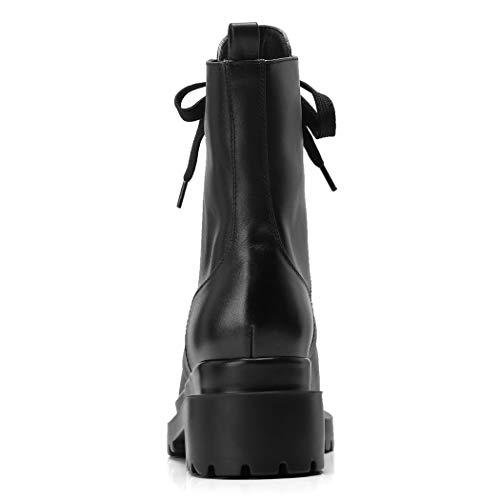 Tacon Cordones Negro Elegantes Plataforma Mujer Botas ANNIESHOE pwIvRq