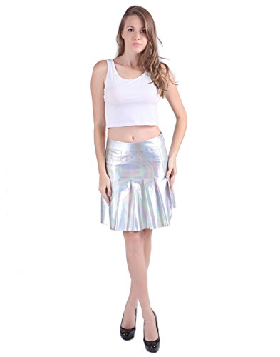 [HDE Womens Reflective Holographic Skater Skirt Shiny Metallic Silver Pleated (Holographic), X-Large] (1970s Tennis Costume)