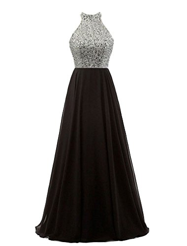 Szmx Black Long Bridesmaid Dresses Silver Sequins Bodice Keyhole Back Evening Party Gowns Z133