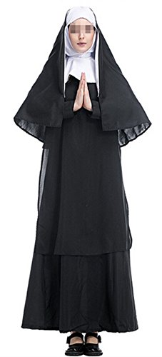 Nun Friar Priest Monk Robe Missionary Christian Church Halloween Cosplay Costume - Medieval Nun Costumes