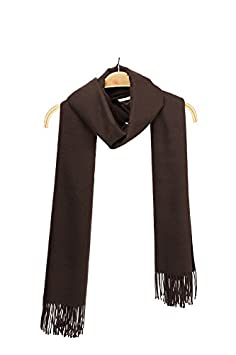 WILD-WIND Shawl Wrap Soft Solid Colored Unisex Winter Scarf With Fringe-Brown IBIU