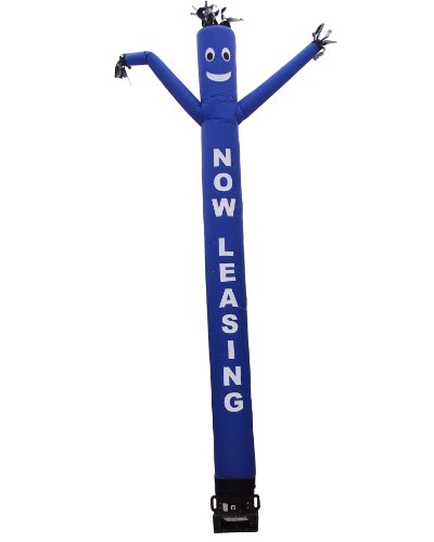 Blue Air Dancer   Blower Complete Set   W  Lettering   Now Leasing   20Ft Wacky Inflatable Tube Man With Blower