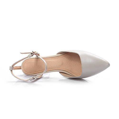 VogueZone009 Women's High-Heels Soft Material Solid Buckle Pointed Closed Toe Sandals Beige 1OyyfAl8U9