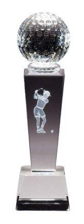 Crystal Golf Tower Award (Crystal Female Golfer Trophy - 8.75 Inches Tall - Decade Awards)