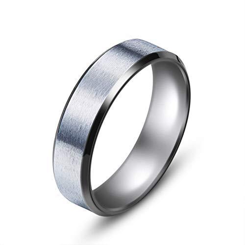 Bishilin Stainless Steel Ring Engraving 8MM Band Vintage Ring Wedding Silver-8MM Band Ring Men Size 12