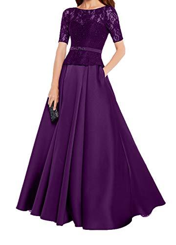 Satin A Kurzarm Violett Ballkleider Brautmutterkleider Damen Charmant Dunkel Partykleider Rock Spitze Linie Abendkleider 84Ft5pqf