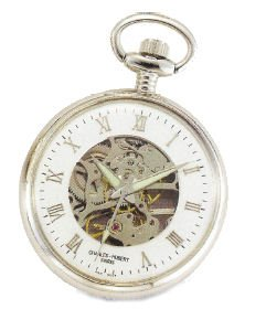 Charles Hubert Classic Off White Ceramic Dial Pocket Watch with Curb Chain and Belt Clip XWA839