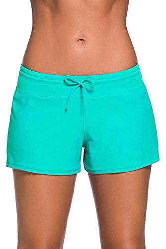 QDASZZ Women's Adjustable Swimsuit Tankini Bottom Board Shorts,Comfort Quick Dry Stretch Board Short (Green, (US 4-6) ()