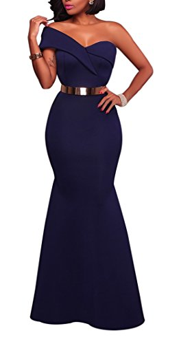 Women's Sexy One Shoulder Ponti Gown Mermaid Evening Maxi Party Dress Navy Blue S