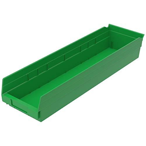 Akro-Mils 30164 24-Inch by 6-Inch by 4-Inch Plastic Nesting Shelf Bin Box, Green, Case of 6