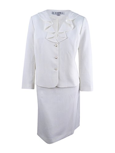 Tahari ASL Women's Plus Size Ruffled Skirt Suit (20W, Ivory White)