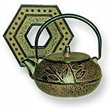 Japanese Tetsubin Gold Metallic Leaf Teapot 10oz