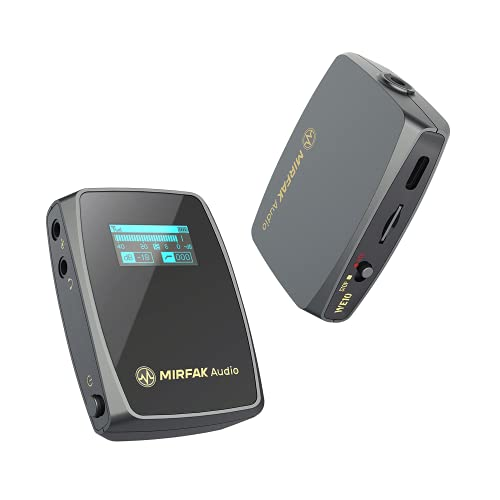 MIRFAK WE10 Dual Channel Compact Wireless Microphone System Comes with one Clip-on Wireless Transmitters and a Dual-Channel Compact Receiver for Video Cameras,Mobile Devices, Livestream (WE10)