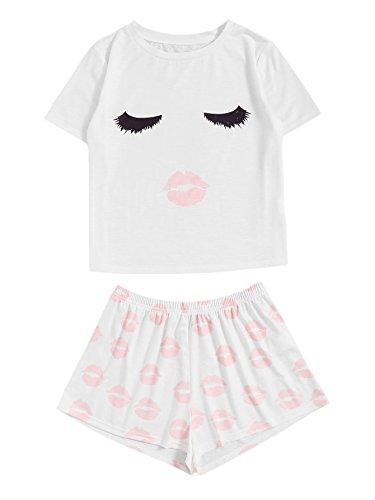 WDIRARA Women's Sleepwear Face Print Top and Red Lip Shorts Pajama Set White L]()