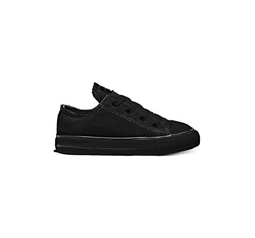 Converse Kids' Chuck Taylor All Star Canvas Low Top Sneaker, Black Monochrome, 1 M US Little Kid