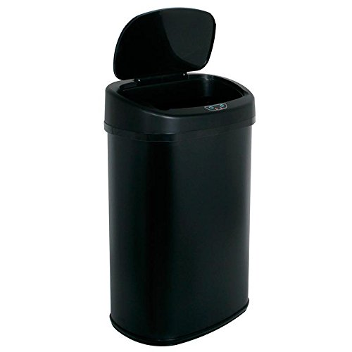 [13-Gallon Touch Free Sensor Automatic Touchless Trash Can Black] (Recycle Bin Costume)