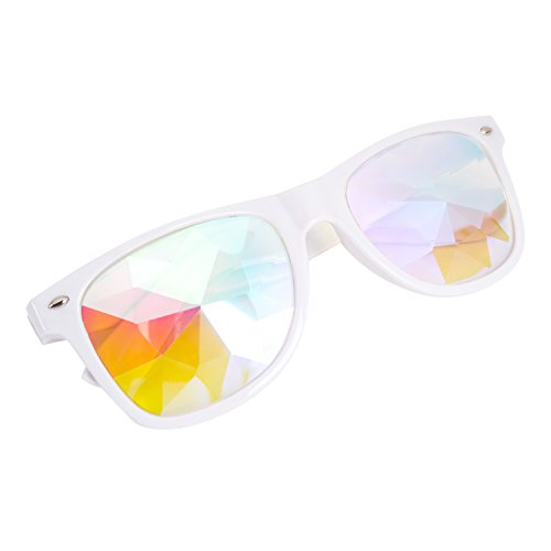 Kaleidoscope Glasses - Rainbow Rave Prism Diffraction Crystal Lens Sunglasses - Trippy Sunglasses