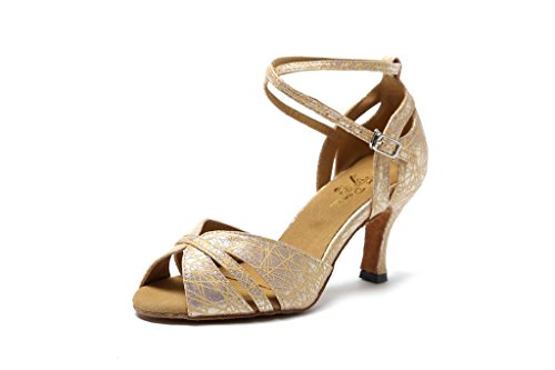 CRC Womens Stylish Peep Toe Synthetic Floral Printed Ballroom Morden Salsa Latin Tango Party Wedding Professional Dance Sandals pale gold